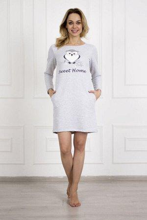 Платье 756 сова №1 серый