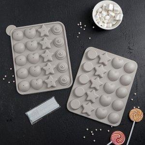 Форма для леденцов и мороженого «Сладости-радости», 23?19?3 см, 20 ячеек, с палочками