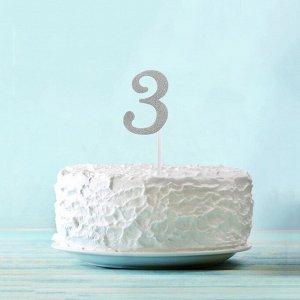 Топпер «3», набор 6 шт., цвет серебряный