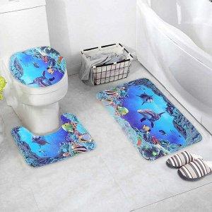 Набор ковриков для ванны и туалета Доляна «Дельфин», 3 шт: 35?39, 40?50, 45?75 см