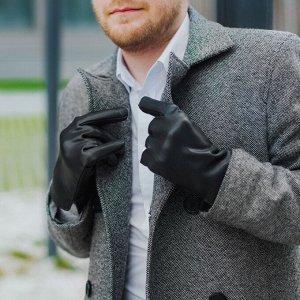 Перчатки мужские, размер 12, длина 24 см, подклад искусственный мех, гладкие, цвет чёрный