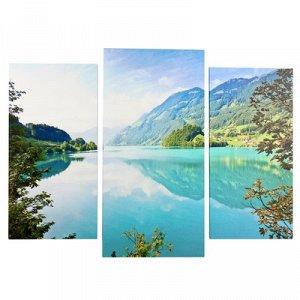 "Картина модульная на подрамнике ""Горное озеро"" (2-25х50, 30х60см) 80х60 см"