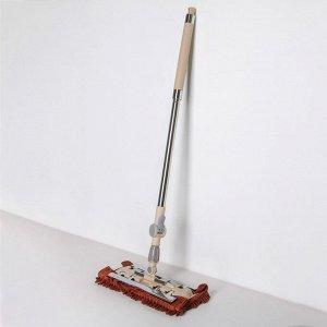 Швабра плоская, телескопическая ручка 94-121 см, насадка микрофибра букли 33?13 см, цвет бежево-коричневый
