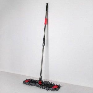 Швабра плоская Доляна, стальная ручка 140 см, насадка из микрофибры 61?10 см