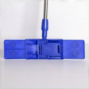 Швабра плоская Доляна «Ocean», телескопическая ручка 77-117 см, насадка микрофибра 40?10 см, цвет синий