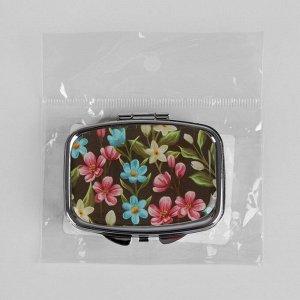 Таблетница «Цветы», с зеркальной поверхностью, 2 секции, цвет серебряный/чёрный