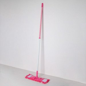 Швабра плоская Доляна «Горошек», телескопическая ручка 72-121 см, насадка микрофибра букли 42?12 см, цвет МИКС
