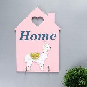 """Крючки декоративные дерево """"Спящая лама - Home"""" розовая 25,8х18х3 см"""