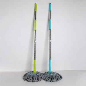 Швабра с отжимом Доляна, стальная ручка 135 см, насадка из микрофибры 180 гр, цвет МИКС
