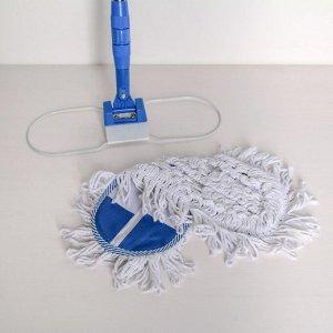 Швабра плоская Доляна, телескопическая стальная ручка 81-122 см, насадка х/б 36?12 см, цвет синий