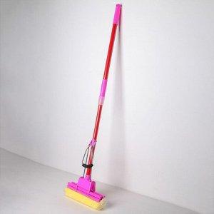 Швабра PVA с двойным роликовым отжимом Доляна, телескопическая ручка 96-119 см, насадка 28?6 см, цвет МИКС