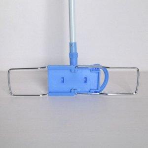 Швабра плоская Доляна, телескопическая ручка 80-126 см, насадка из микрофибры 44?14 см, цвет МИКС