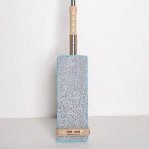 Швабра плоская с вертикальным отжимом Доляна, стальная ручка 125 см, 2 насадки из микрофибры 35?14 см