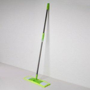 Швабра плоская Доляна, телескопическая стальная ручка 92-122 см, насадка из микрофибры 42?12 см, цвет МИКС