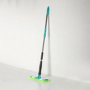Швабра плоская с отжимом Доляна «Twist», телескопическая ручка 95-120, насадка микрофибра букли 32?9 см, цвет МИКС