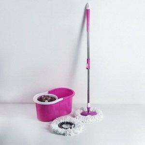 Набор для уборки: швабра, ведро с металлической центрифугой 14 л, запасная насадка из микрофибры, колёсики, цвет МИКС