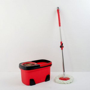 Набор для уборки: ведро с металлической центрифугой 17 л, швабра, доп. насадка, колёсики