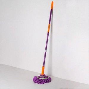 Швабра с отжимом Доляна, металлическая ручка 117 см, насадка из микрофибры 90 гр, цвет МИКС
