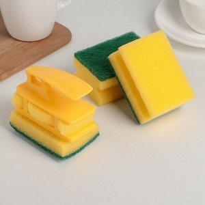 Набор губок кухонных с держателем Titiz, 6,5?8,8?4,5 см, 3 шт, цвет МИКС