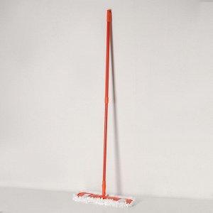 Швабра плоская Доляна, телескопическая ручка 78-130 см, насадка из микрофибры 42?12 см, цвет МИКС