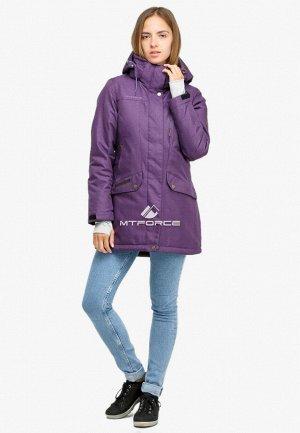 Женская зимняя парка фиолетового цвета 18113F