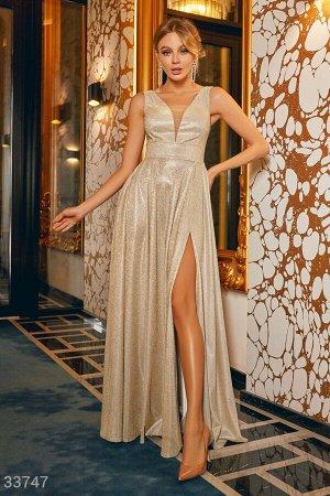 Золотистое платье-макси