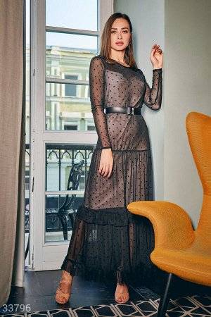 Платье из сетки в горошек