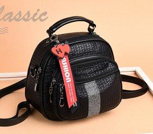 Сумочка-рюкзак, черный со стразами