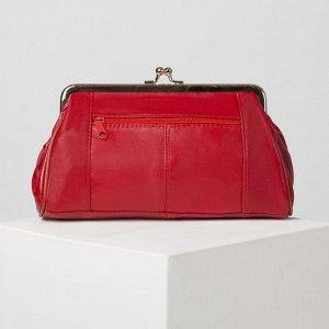 Косметичка-фермуар, отдел на рамке, наружный карман, цвет красный