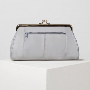 Косметичка-фермуар, отдел на рамке, наружный карман, цвет серый