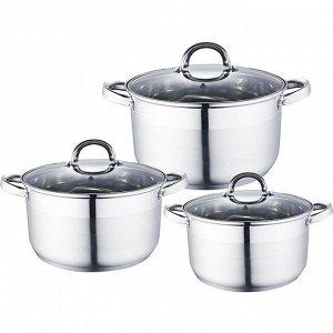 Набор посуды 6 предметов: 3 кастрюли (2 л, 2,8 л, 3,7 л) из нержавеющей стали со стеклянными крышками BE-338/6
