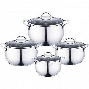Набор посуды 8 предметов: 4 кастрюли (2 л, 2,8 л, 3,7 л, 6,2 л) из нержавеющей стали со стеклянными крышками BE-337/8