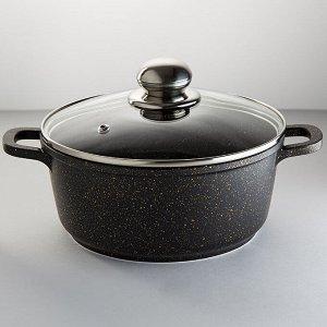 """Кастрюля ?18 см, 1,9 л из литого алюминия Webber BE-96/2N """"BLACK ONYX"""" со стеклянной крышкой"""