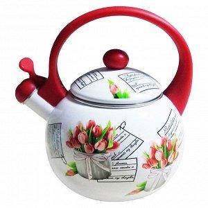 """Чайник 2,5 л со свистком ЕМ-25001/38A """"Тюльпаны"""""""