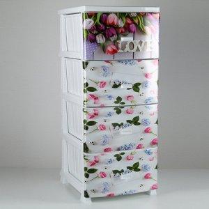 Комод 4-x секционный Росспласт «Декор. Весна», цвет белый