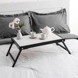 """Столик для завтрака """"Ренессанс"""", 60 х 40 см, массив ясеня, цвет черный"""
