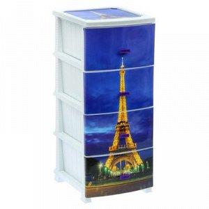 Комод 4-x секционный Росспласт «Декор. Париж», цвет белый