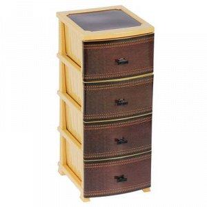 Комод 4-x секционный «Декор. Кожа», цвет бежево-коричневый