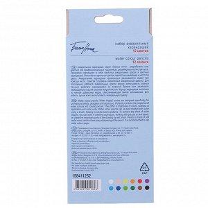 """Карандаши акварельные набор 12 цветов, ЗХК """"Белые ночи"""" в картонной коробке"""
