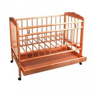 Детская кроватка «Женечка-2» на колёсаx, с ящиком, цвет ореx