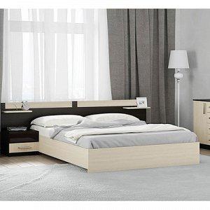 Кровать Аура с основанием, 850х1440х2040, Венге/Дуб молочный