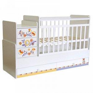 Детская кровать-трансформер «Фея 1100», цвет белый «Прогулка»