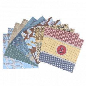 """Набор цветной бумаги """"Путешествия"""" 12 листов 295 х 295 мм, плотность бумаги 150 гр/м2."""