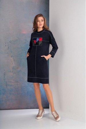 Платье Платье Golden Valley 4509 ночь  Состав ткани: Вискоза-33%; ПЭ-65%; Эластан-2%;  Рост: 170 см.  Платье с втачным воротником - стойкой, застежкой на две навесные петли и пуговицы по стойке со ст