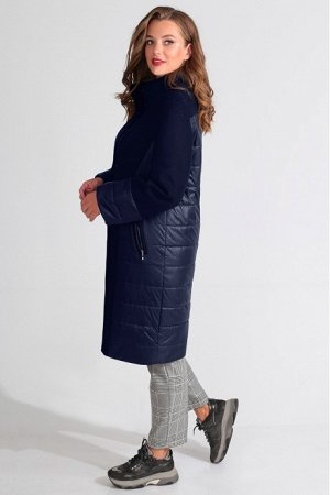 Пальто Пальто Golden Valley 7099 темно-синее  Состав ткани: ПЭ-64%; Шерсть-30%; Акрил-6%;  Рост: 170 см.  Пальто с центральной потайной застежкой на петли и пуговицы, втачным воротником- стойкой. По