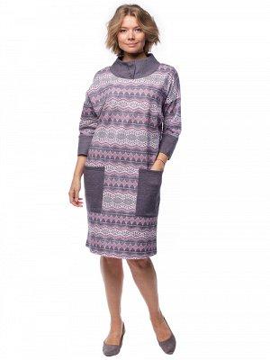 Платье Платье для зимы свободного покроя, немного заужено к низу, длиной до линии колен, комбинированное из набивного и однотонного полотна - футер ( небольшой начес), с накладными карманами и воротни