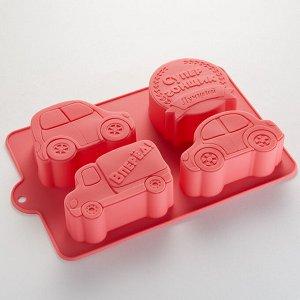 """Форма 24,5х17х3,5см для выпечки 4 кексов силиконовая РК-6012С """"Супер-гонщик"""" темно-розовая"""