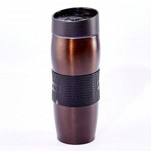Термокружка вакуумная 400 мл Alpenkok AK-04002A коричневая + ПОДАРОК