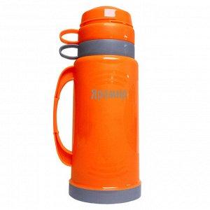 Термос 1,0л ЯРОМИР ЯР-2020С оранжевый с серым