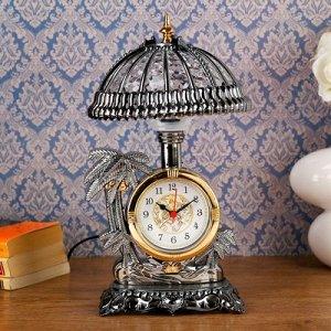 "Часы-светильник ""Оазис"", золотистые, 30х17х17 см"